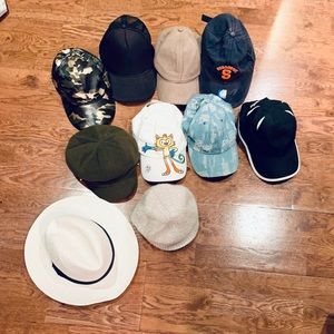 Hats, women's tops, male pocket square NWT, scarf